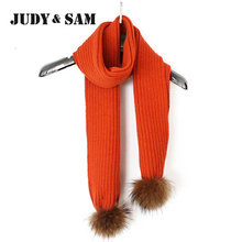 2015 New Classic Long Scarves Women Stripe Pattern Knitted Wool Scarf Wtih Real Raccoon Fur Pompom Winter Neck Wear Accessories(China)