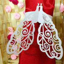 100pcs Laser cut Peacock Napkin Rings Serviette Holder Table Decoration Wedding Banquet Dinner Decor Towel Buckle 7ZSH102