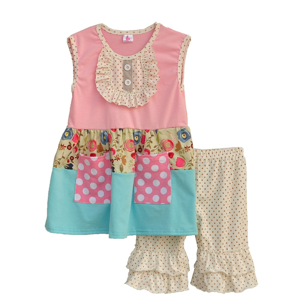 Big Promotion !! Girls Clothes Buttons Pocket Decoration Sleeveless Blouse + Pitting Printing Pants Children Clothing S080<br><br>Aliexpress