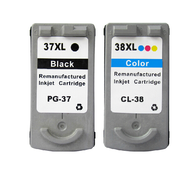hisaint  Free Shipping , PG37 CL38 Ink Cartridge for Canon PG-37 PG-38 InkJet Cartridge for Canon PIXMA iP1800 MP210 MP220 MP470