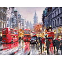 Coloring Picture By Numbers Oil Painting DIY Draw Wall Art Canvas Paint Home Decorlion Street View Red Bus for living room(China)