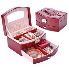 B 2 Layers Fashion Jewellery Display Storage Packaging Case Organizer Gift Boxes 7 Colors PU Leather Watch Jewelry Box