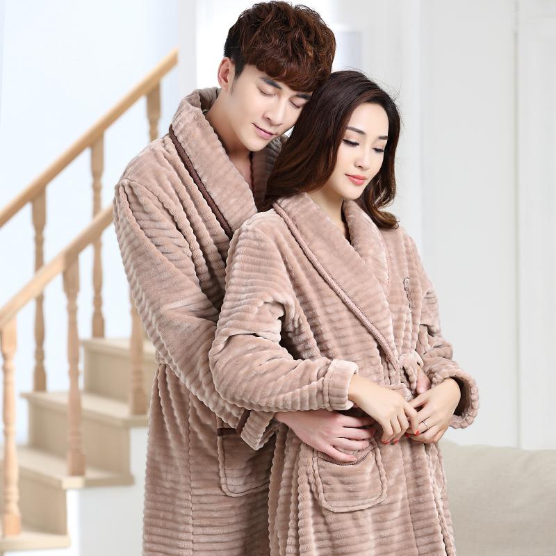 2019 100% Coral Fleece Couples Bathrobe Thick Flannel Bathrobe ... b70e403de