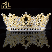 Prelife Memory Gold Color Round Hair Accessories Rhinestones Tiaras And Crowns Women Luxury Wedding Hair Accessories(China)