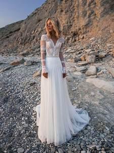 Wedding-Dresses Bridal-Gowns Robe-De-Mariee A-Line Long-Sleeves Bohemian Beach Appliques