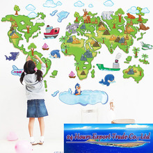 Free shippingThe world map wall stickers children TV setting wall euramerican style cartoon version of the map