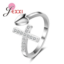 JEXXI Hot Selling 925 Sterling Silver Cross Heart Open Adjustable Rings Women Zircon Stone Jewelry Fashion New Year Gif(China)