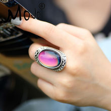 Mojo Vintage Bohemia Retro Color Change Mood Ring Emotion Feeling Changeable Ring Temperature Control Ring for Women MJ-RS033(China)