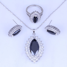 Love Monologue Eye Shaped Black Imitation Onyx Cubic Zirconia Silver Color Jewelry Sets for Women Rings Size 7 / 8 / 9 H0254