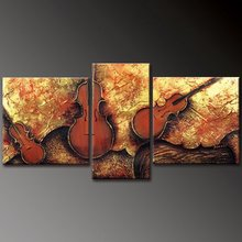 handpainted 3 piece modern abstract decorative oil painting on canvas wall art instrumental guitar for living room unique gift