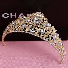 Gold Color Hair Accessories Rhinestone Crystal Wedding Bridal Birthday Party Prom Pageant Tiaras Crown For Bride Hair Jewelry(China)