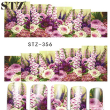 STZ 1 Sheets New 2017 Latest  Nail Art Sticker Full Cover Rose Purples White Designs for Women Nails Watermark Tattoos STZ356