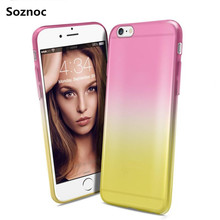 Soznoc Ultra slim clear Gradual Change Colorful TPU Soft Case For iPhone 7 7plus 4G 4s 5G 5s SE 6G 6s 6 Plus 6s plus back Cover