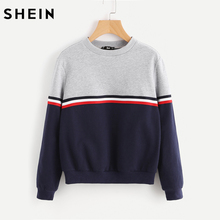 SHEIN Striped Woven Tape Detail Two Tone Sweatshirt Women Casual Pullovers Color Block Long Sleeve Sweatshirts(China)