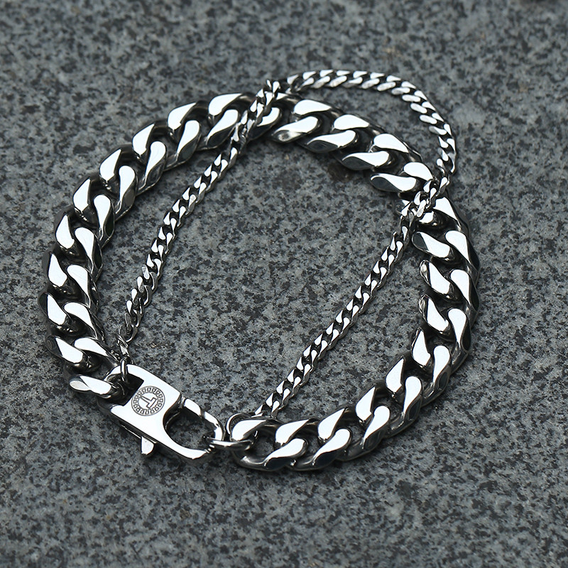Davieslee Double Chain Bracelet Men Stainless Steel Polished Wheat Curb Cuban Link Silver Gold Black Tone 13mm LDBM01