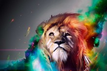 CG king beast digital art psychedelic fantasy face eye color MANIP art wall poster pictures and printing canvas oil painting(China)