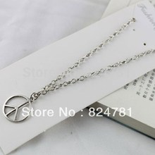 Hot Free Shipping Wholesale Fashion 10pcs Tibetan Silver Peace Logo Pendant Chain Necklace 42mm Jewelry Diy W486