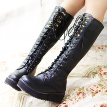 2015 New Fashion Women's Wedges Boots Flat Platform Shoes Cross Strap Tall Boots Martin Boots Plus Size 35-43 #2740