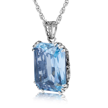 Rectangle Vintage Charm Stone Pendant Suspension femme Bohemian Blue italy Crystal 925 Sterling Silver Jewelry for Women Fashion