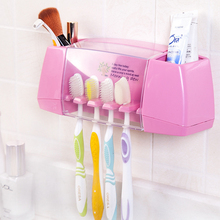 2016 Wholesale multifunctional toothbrush holder storage box bathroom accessories suction hooks Plastic tooth brush holder(China)