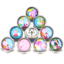 10pcs/lot New 12mm Glass Snap Cute Pink Pig Cartoon Buttons Fit Child 12MM Snap Bracelet buttons