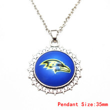 3pcs Silver 20 Inch Chains Necklace Vintage Star Football Baltimore Ravens Glass Pendant Necklace For Women Men Necklace Jewelry(China)