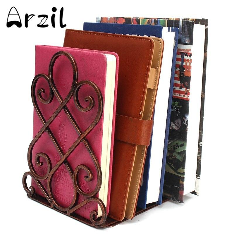 2pcsset book shelf iron living room retractable copper metal student antique color retro book storage holder 18x17x215cm