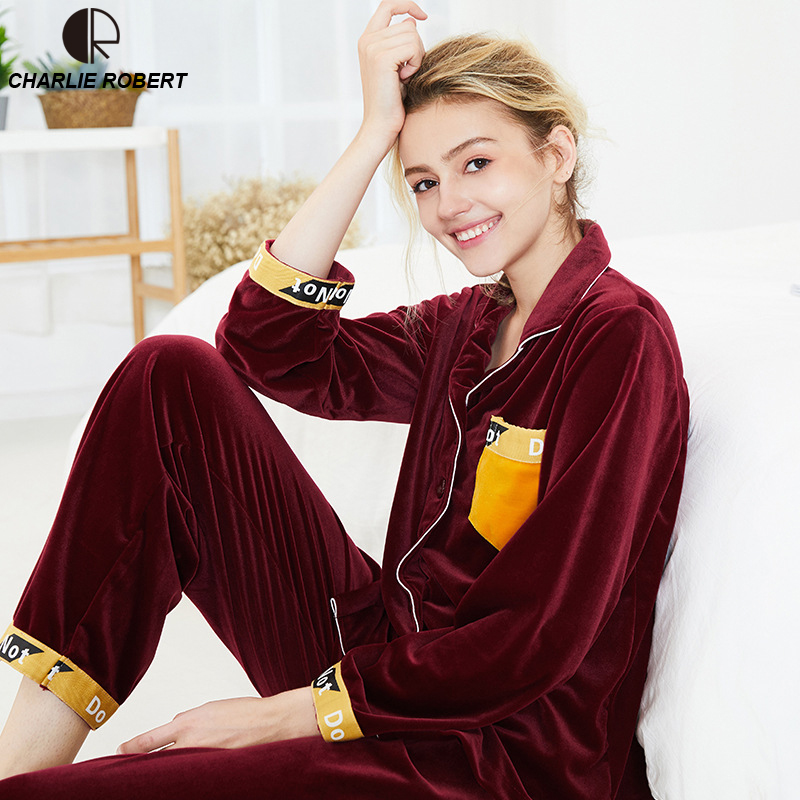 Gold Velvet Winter Women Pajama Sets Female Flannel V Neck Solid Casual Loose Home Clothes Winter Warm Suit Two Piece Lingerie