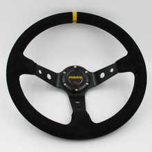 Momo 350mm Yellow Stitching Deep Dish Suede Leather Racing Steering Wheel(China)