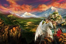 fantasy landscape dragon elf girl rocks mountains castle EA126 living room home wall modern art decor wood frame fabric posters