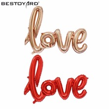 LOVE Designed Foil Balloon Romantic Mylar Balloons Love Balloons Bachelorette Party Wedding Decoration Ideas - Bridal Shower(China)