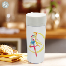 Plastic Insulated Original Watercolor Sailor Moon Japanese Movie Anime Kids Water Bottles 300ml Gifts BPA Free Personalized(China)