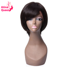 Atina Queen Short Cut Bob Wigs for Black Women Side Part Virgin Hair Full Lace Human Hair Wig with Bangs Fringe Natural Hairline(China)