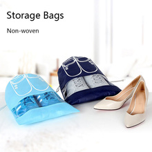 Drawstring Blue Portable dust-proof Shoe Storage Bag Travel Visual Breathable Organizer  High Quality Free Shipping