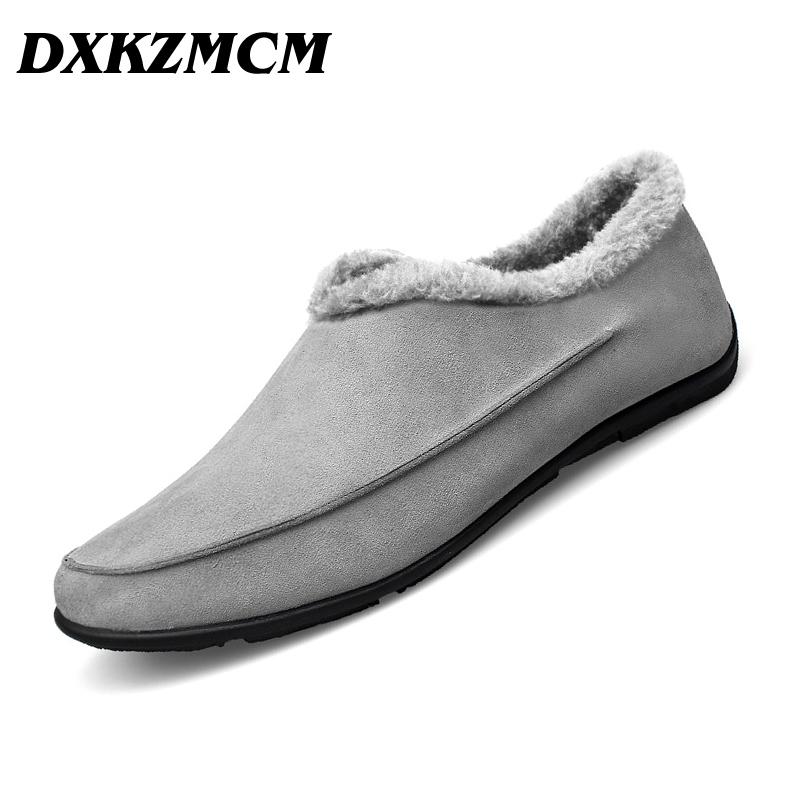 DXKZMCM Casual Shoes Winter Fur Men Loafers 2017 Slip On Drivers Loafer PU Leather Moccasins Plush Men Shoes<br>