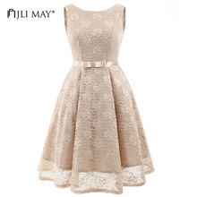 Buy JLI MAY Lace party dress sexy slim o-neck bow a-line sleeveless backless womens clothing women summer evening elegant dresses for $23.06 in AliExpress store