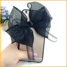 Fashion Black Lace Bow Cases For iphone 7 7 Plus 6S 6 Plus SE 5 5S Luxury Women Clear Fundas Acrylic Back Cover Capa Shell MN291