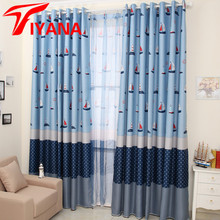 Mediterranean Sailboat Design Curtains For Kids Children Room Living Room Bedroom Cartoon Boys Window Drapes Blue Color HP020#30