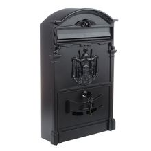 Heavy Duty Black Aluminium Lockable Secure Mail Letter Post Box Letterbox New(China)