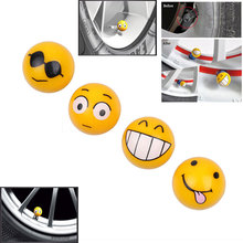4 Pcs/Lot Car Tire Air Valve Cap Tyres Wheel Dust Stems Smile face caps Bolt in Type Ventil Valve for Auto Car Truck Motorcycle(China)