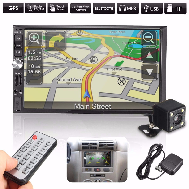 7 Inch 2 Din Bluetooth Car In Dash MP5 Player GPS Navigation USB FM TF+170 Degrees Car Rear View Reversing Camera<br><br>Aliexpress