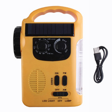 LED Multifunction Emergency Solar Dynamo Radio Lights Lamp Outdoor Hand Crank Dynamo USB Cable Charging Light With FM Radio
