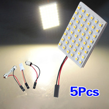 5pcs Car Interior Light Panel 48 SMD LED T10 BA9S Dome Festoon Bulb Adapter 12V Warm white panel(China)