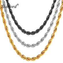 Starlord 3MM 316L Stainless Steel/Black/Gold Color Dookie Rope Chain Necklace For Men Jewelry Wholesale Long Necklace GN2173(China)