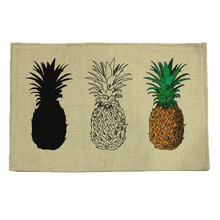 pineapple pattern print linen placemat coasters disc pads bowl pad pot dining table mat coster heat insulation pad