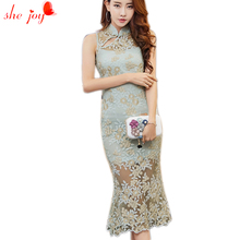 Summer Vintage Long Dress Women Lace Dresses Tankdress Embroidery Retro Gowns Women's Elegant Robe Lace Clothings Female(China)