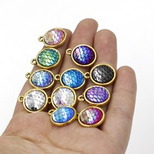 11pcs/lot Antique Gold Color scale Charm Lots  DIY Pendant Round 12mm  Jewelry Finding Mermaid Series Jewerly Finding