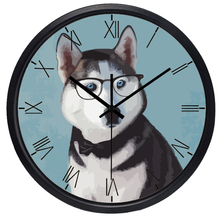 Husky Glass Dog Men Women Wall Clock Rome Retro creative Home Office Watch(China)