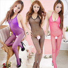 Women Halter Sexy Lingerie Sexy Bodystockings transparent Open Crotch Bodysuits netting Sex toys seductive Whole body socks