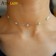 Wedding Engagement Choker Design Sparking Flower Charm Thin Delicate Chain Aaa Cz Stunning Girl Women Necklace in real 925silver(China)